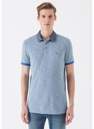 Mavi Denim Yaka Detaylı Mavi Polo Tişört Mavi